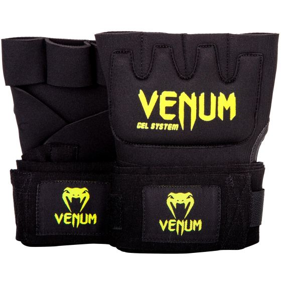 Venum Kontact Gel Glove Wraps - Black/Neo Yellow