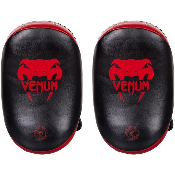Venum Kick Pads Leather-Black/Red