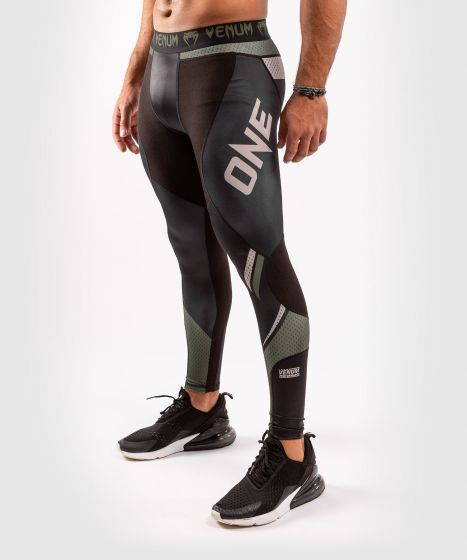 Venum ONE FC Impact Compresssion Tights - Black/Khaki